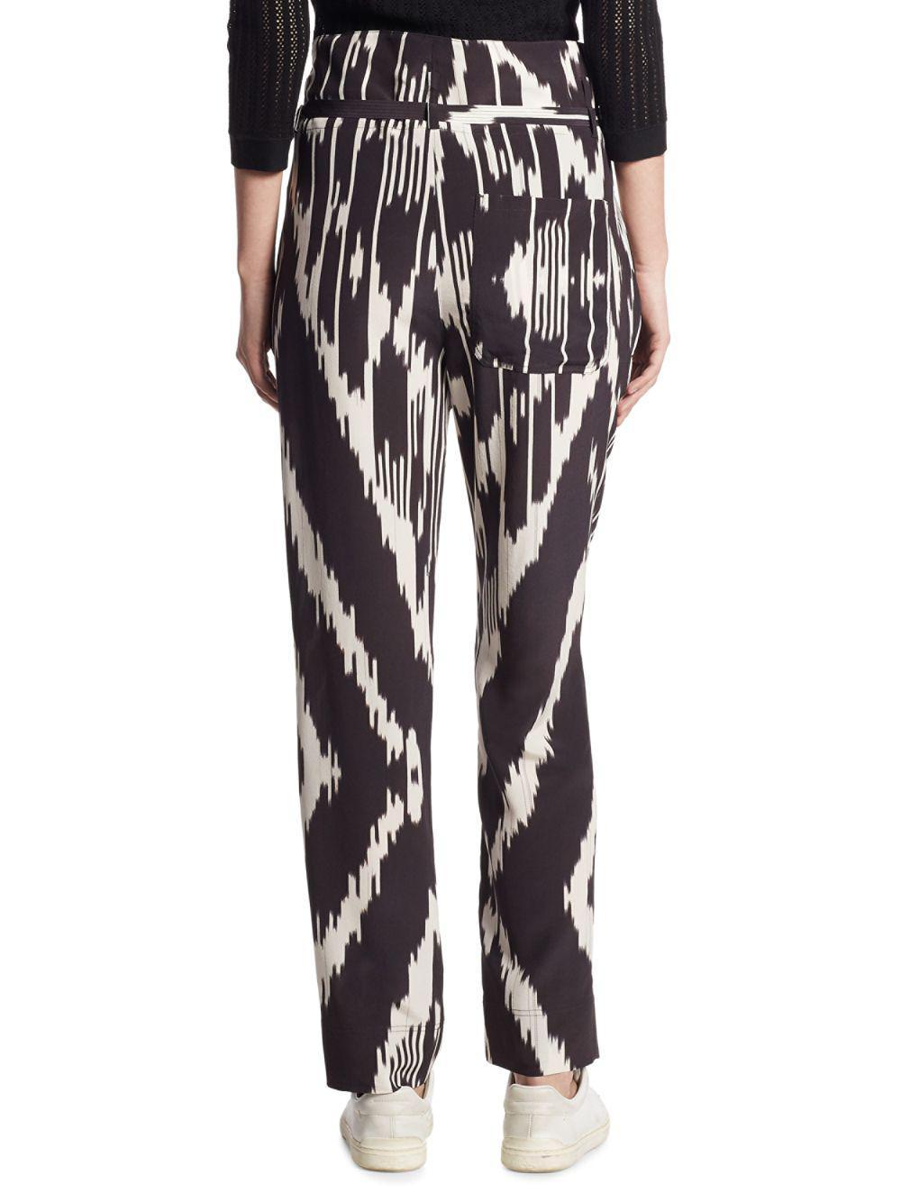 94bda00da7c Theory Gunilla Ikat Silk Straight-leg Pants in Black - Save 39% - Lyst