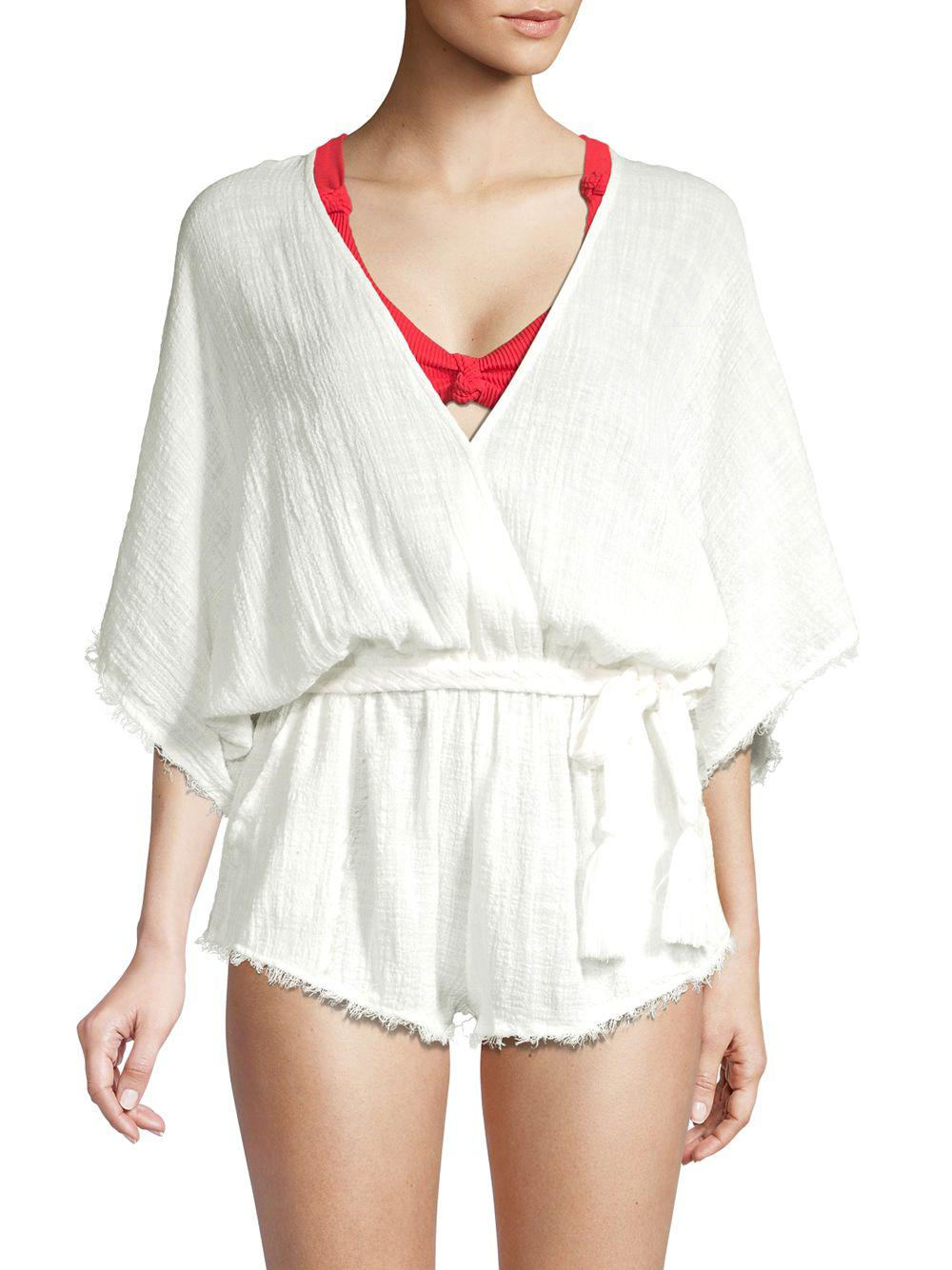 530ec6b9f3df Lyst - Dolce Vita Cotton Frayed Cover-up Romper in White