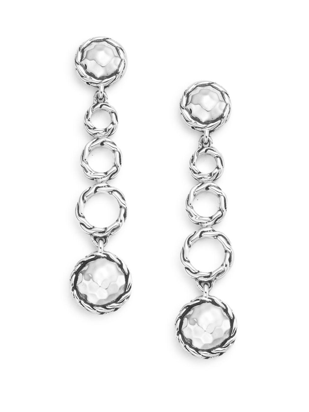 John Hardy Palu Silver Round Drop Earrings AMBafh
