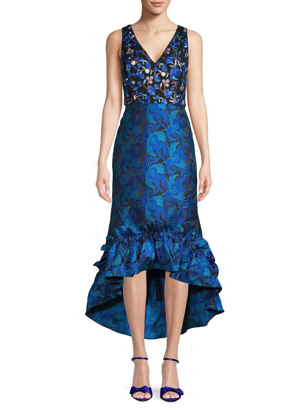 71efc917 Belle By Badgley Mischka. Women's Blue Sandrine Embroidered Floral High-low  Sheath Dress