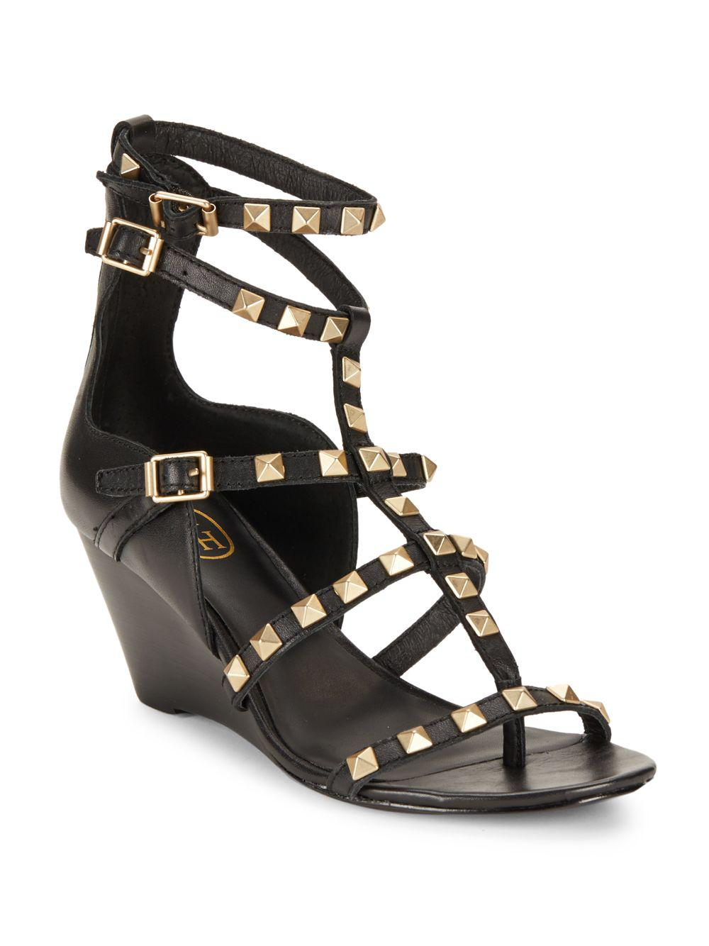 fcc449fdbf4d Lyst - Ash Dafne Leather Studded Wedge Shoes in Black