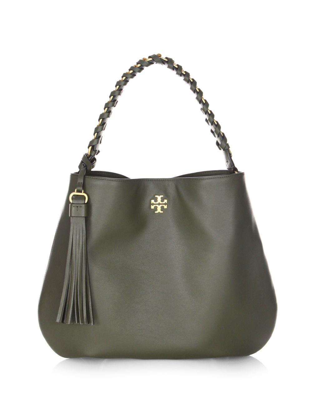535bb2413dc Lyst - Tory Burch Brooke Leather Hobo Bag in Green
