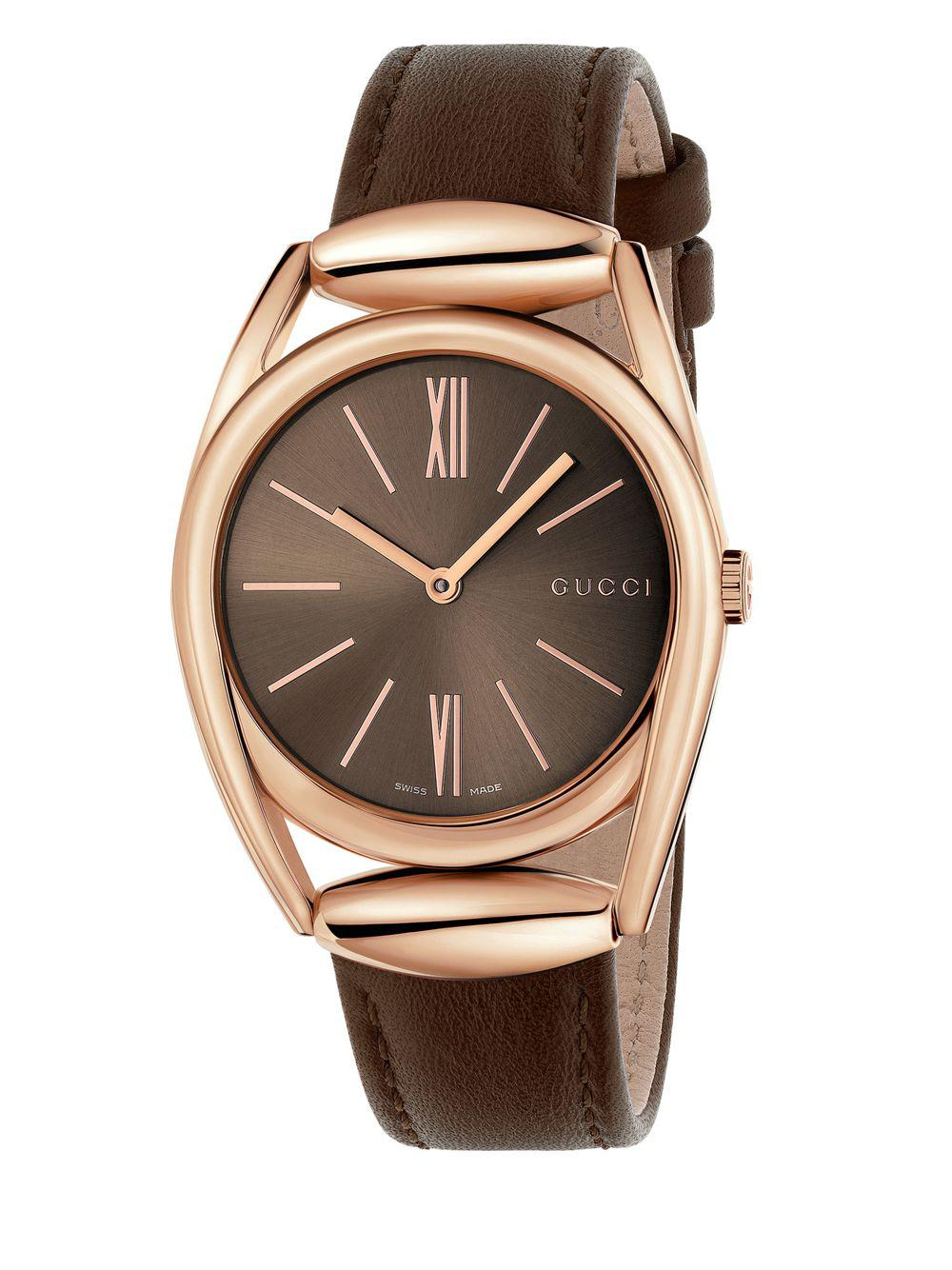 2c74143b126 Gucci - Horsebit Rose Goldtone Brown Leather Strap Watch