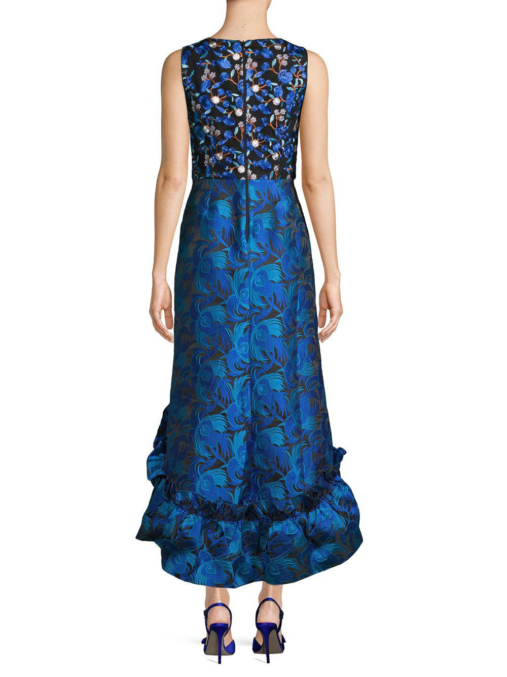 cb6a336fbe4 Belle By Badgley Mischka - Blue Sandrine Embroidered Floral High-low Sheath  Dress - Lyst. View fullscreen