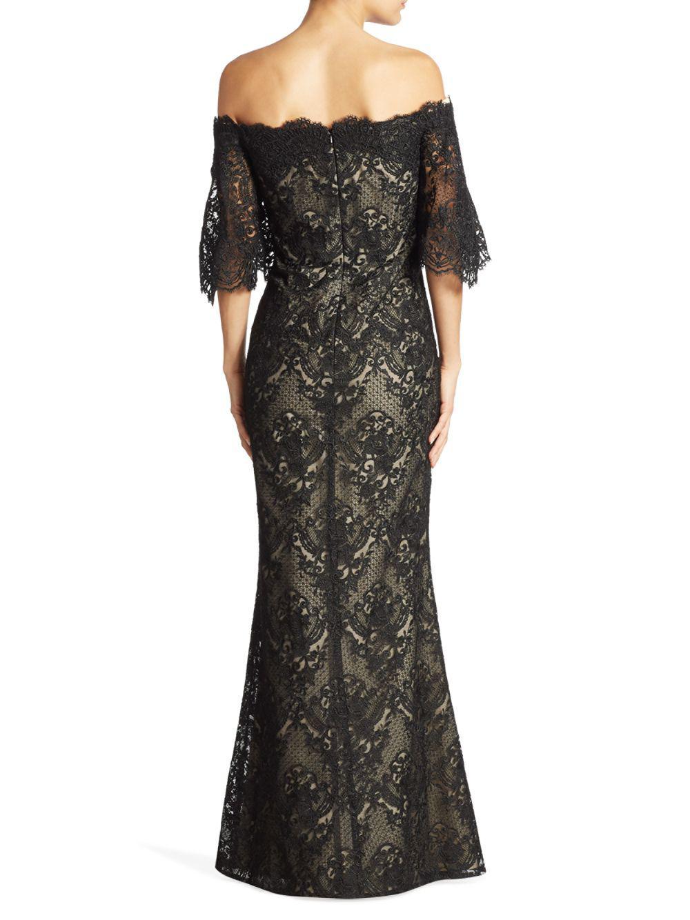 7d9c349876c Basix Black Label - Black Dolmain Off-the-shoulder Lace Gown - Lyst. View  fullscreen