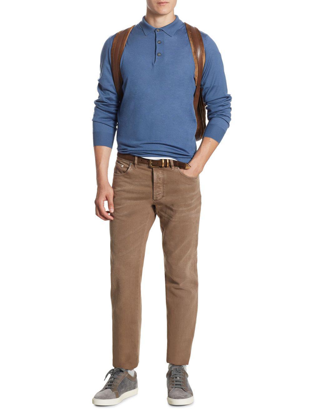f9cd7229a7 Lyst - Brunello Cucinelli Cotton Polo Sweater in Blue for Men