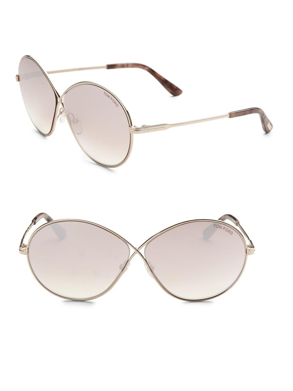 5770edce160d0 Tom Ford Rania 64mm Oval Sunglasses in Gray - Lyst