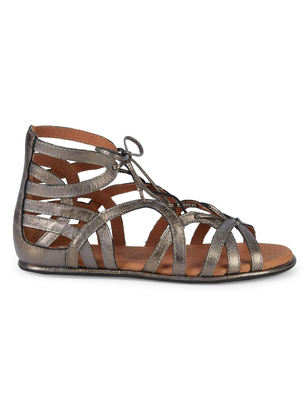 54e44f5b6594 Lyst - Gentle Souls Leather Ghillie D orsay Flat Sandals in Brown