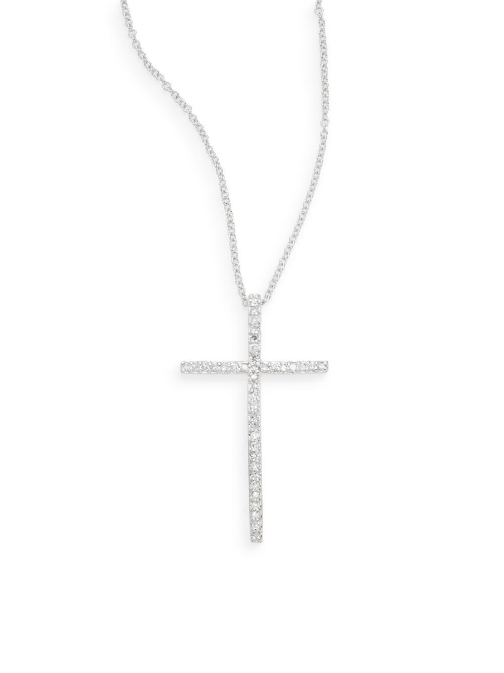 Lyst effy diamond 14k white gold cross pendant necklace in metallic aloadofball Image collections