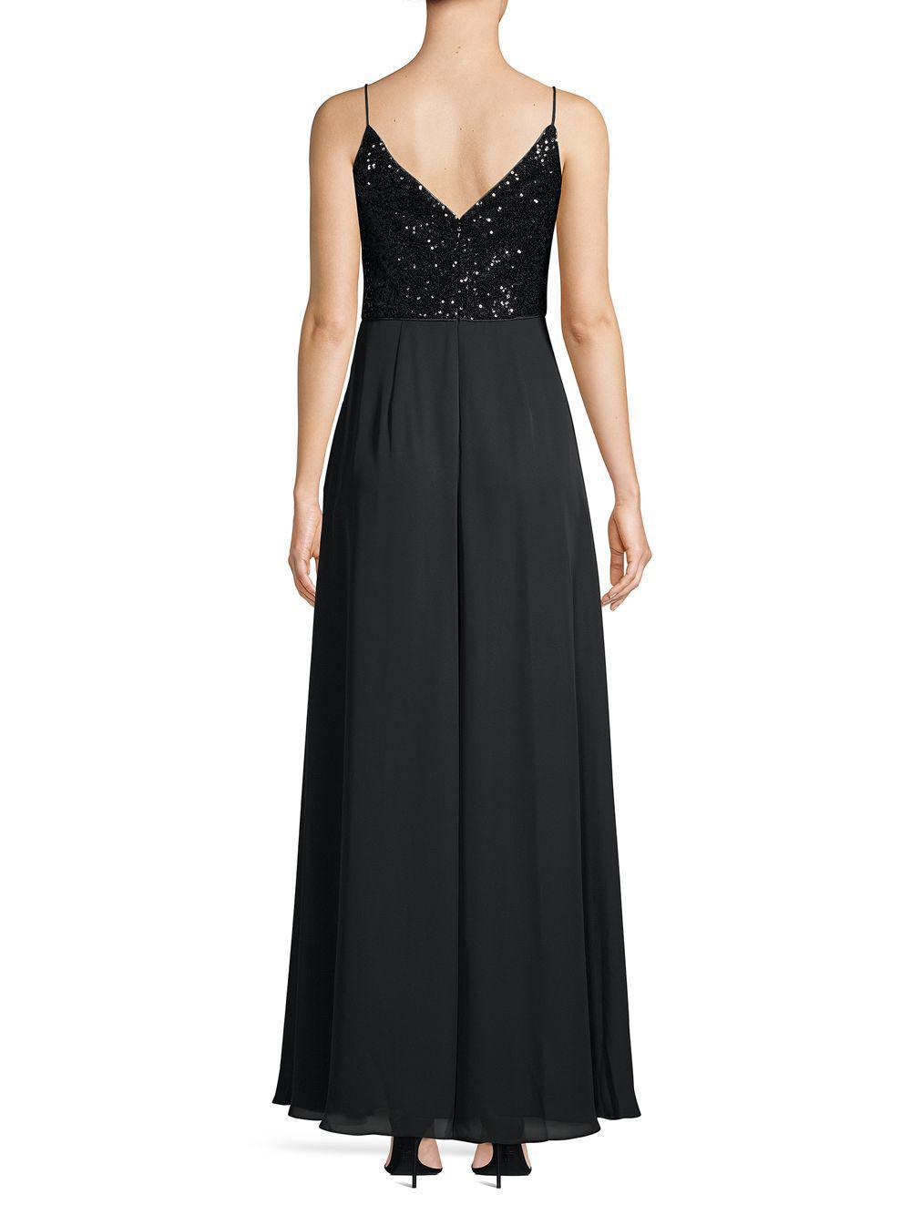 fe88543b5fae Calvin Klein - Black Sequin & Chiffon Ruffle Slit Gown - Lyst. View  fullscreen