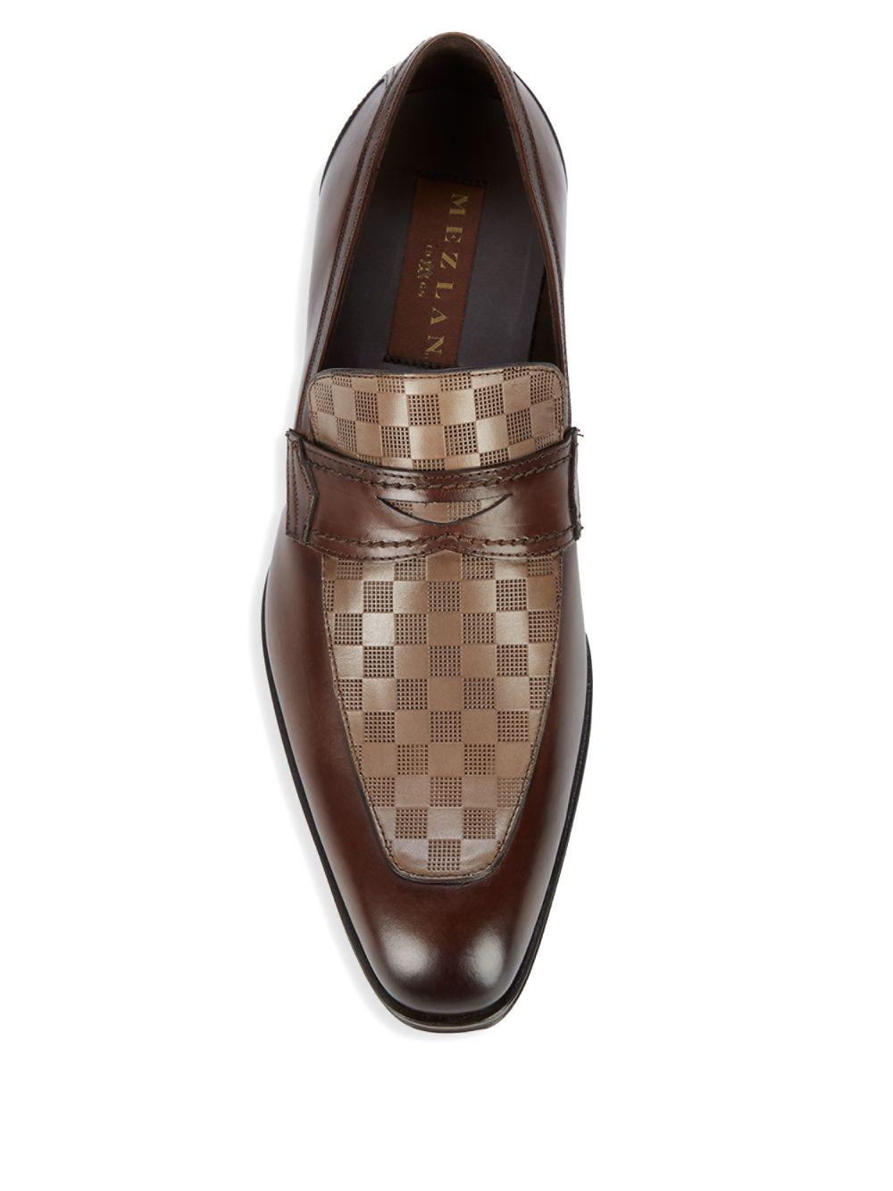 18705 Check Leather Penny Loafers Mezlan Brown Shoes