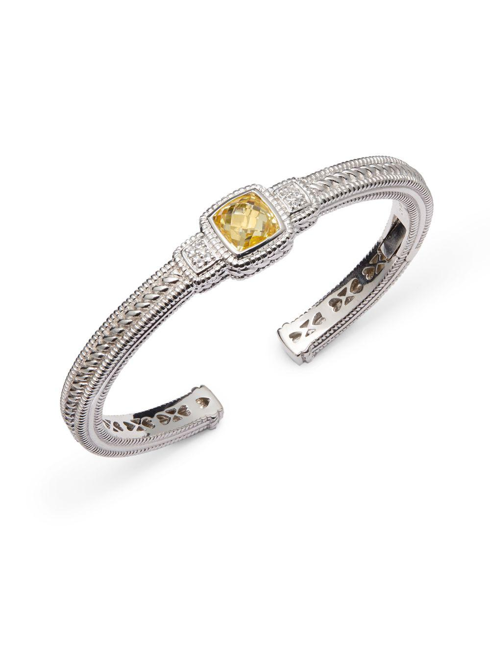 Lyst Judith Ripka White Shire Yellow Cubic Zirconia Cuff Bracelet In Metallic
