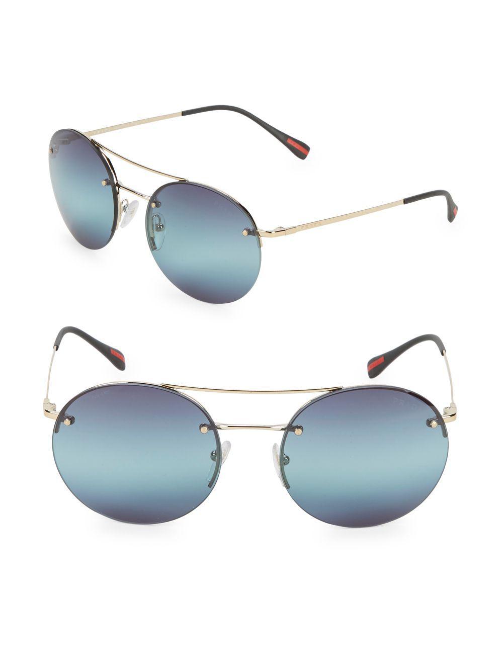 4e628466755f Lyst - Prada 56mm Round Sunglasses in Blue
