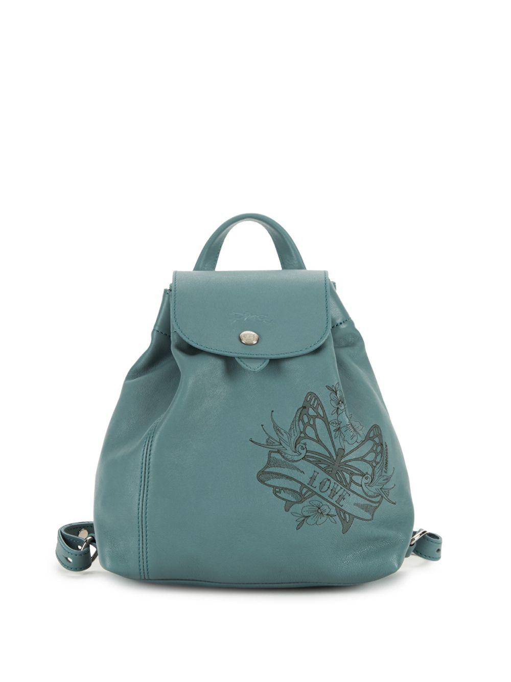 4baa8c991242 Lyst - Longchamp Tattoo Leather Backpack in Blue