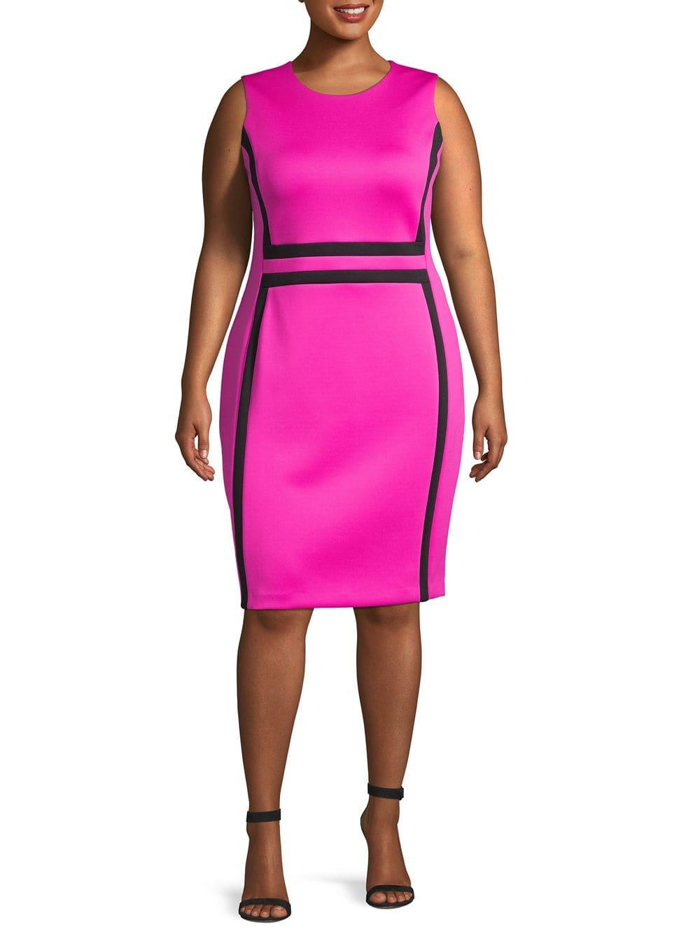 37dd778d8c3 Calvin Klein Plus Paneled Sheath Dress in Pink - Lyst