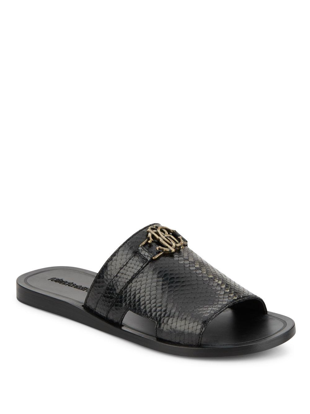 discount high quality Roberto Cavalli Leather Slide Sandals outlet professional RwQg6M