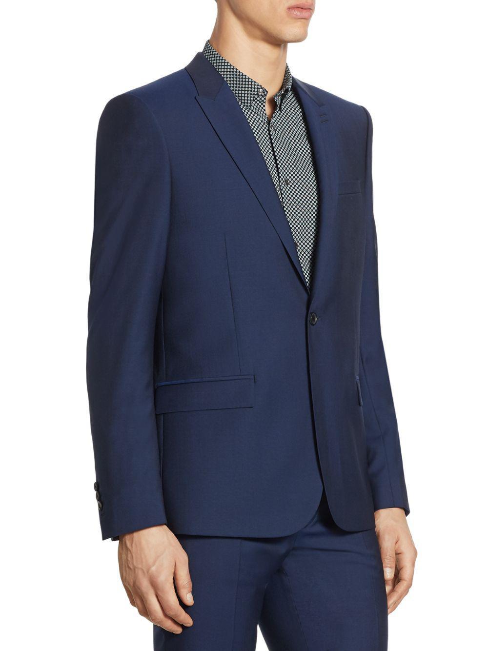 The Kooples Slim-fit Wool Jacket in Blue for Men