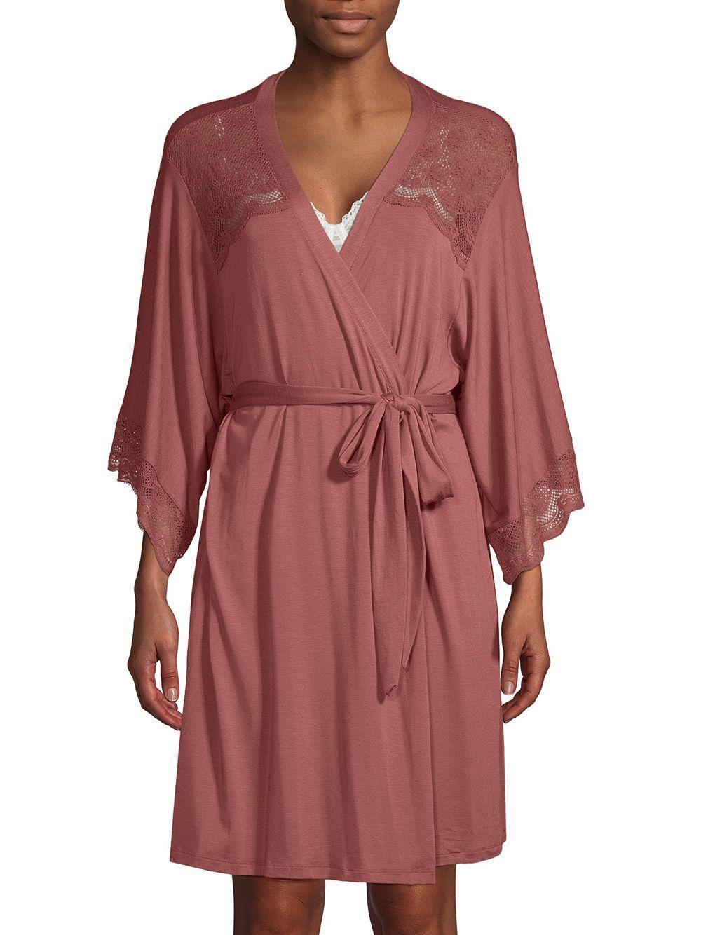Lyst - Eberjey Petunia Lace-trimmed Kimono Robe in Red 29c4c0c59