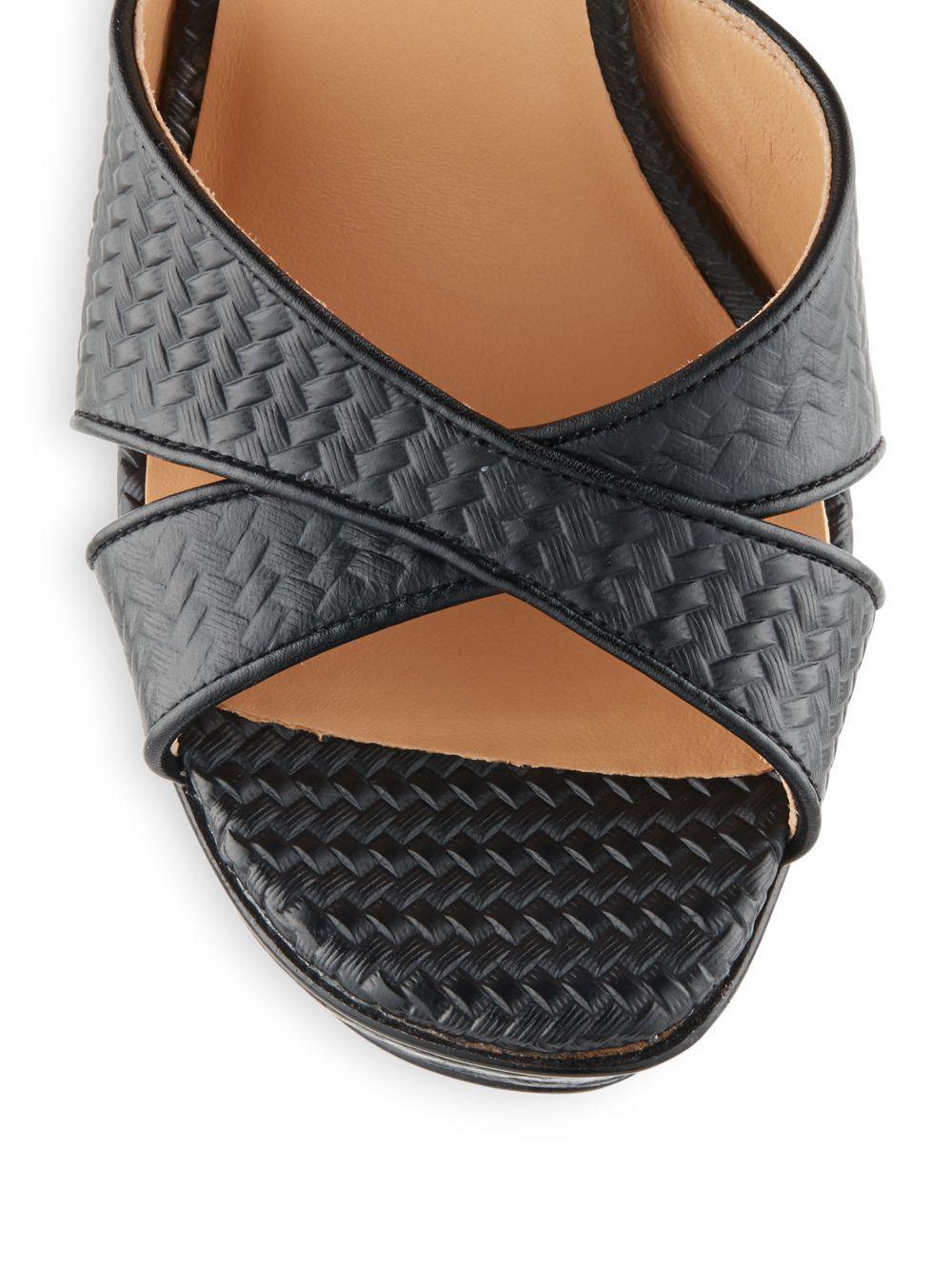 Halston Embossed Leather Platform Sandals In Black Lyst