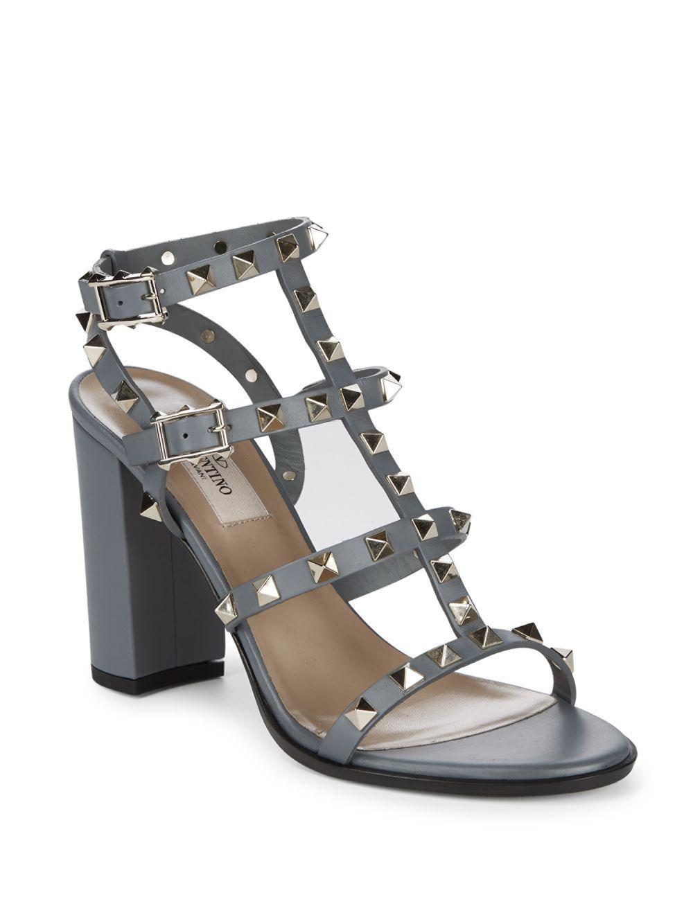 52384f76089 Lyst - Valentino Gladiator Block Heel Sandals in Gray