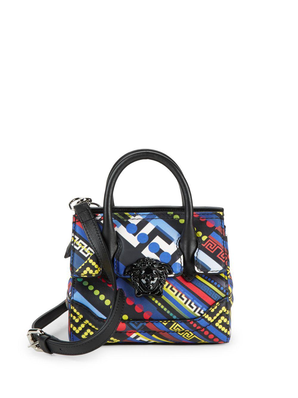 54ef200032ed Lyst - Versace Geometric-print Leather Crossbody Bag in Blue