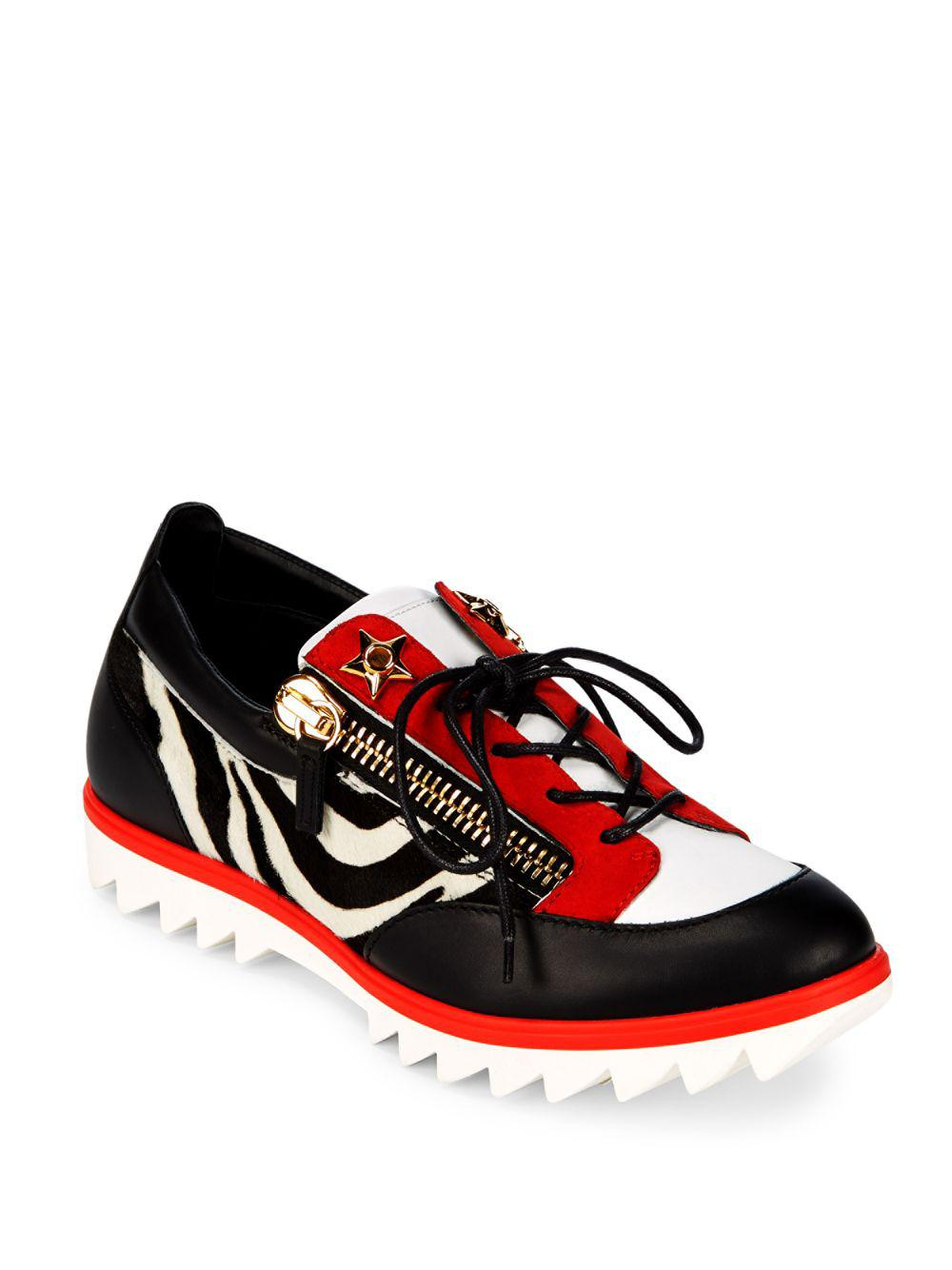c14cb8cf5416 Giuseppe Zanotti Double Zip Lace-up Sneakers in Red - Lyst