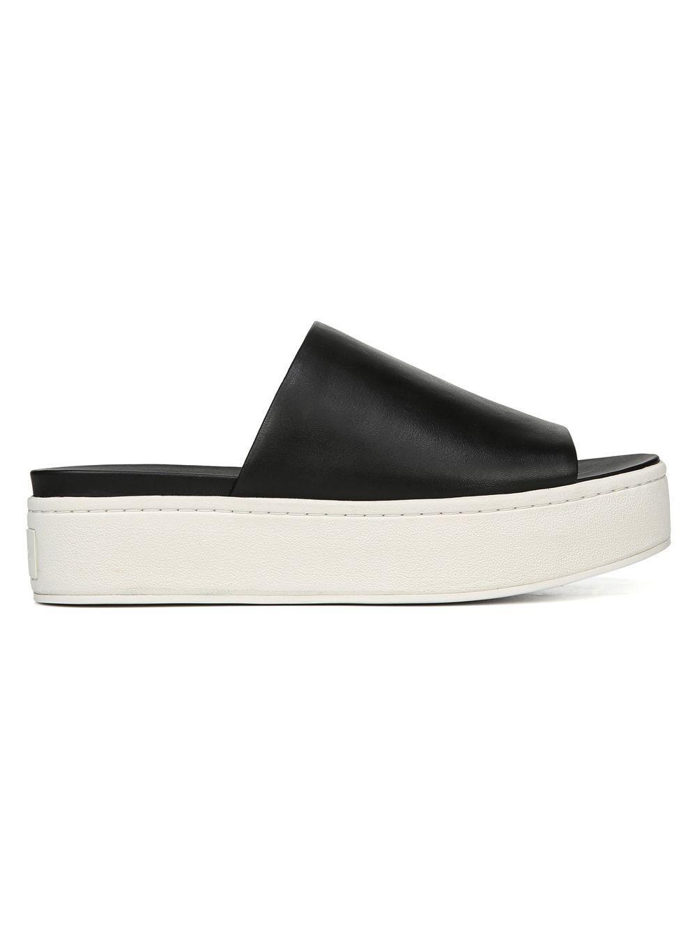 57731fba984 Lyst - Vince Walford Leather Platform Slides in Black