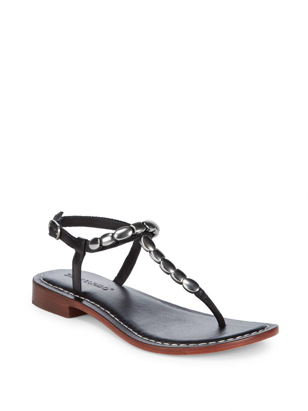 Bernardo   Black Tristan Leather Silver Bead Sandals   Lyst. View Fullscreen