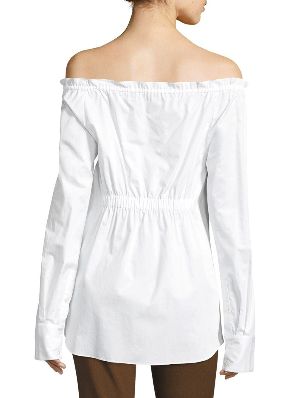 90cdf6b79c3dd3 Lyst - Tibi Ruched Off-the-shoulder Shirt in White - Save  25.362318840579704%