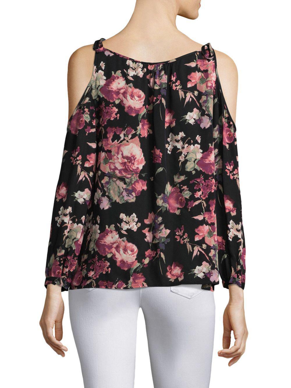 Joie Jilette Floral Cold Shoulder Silk Blouse in Black