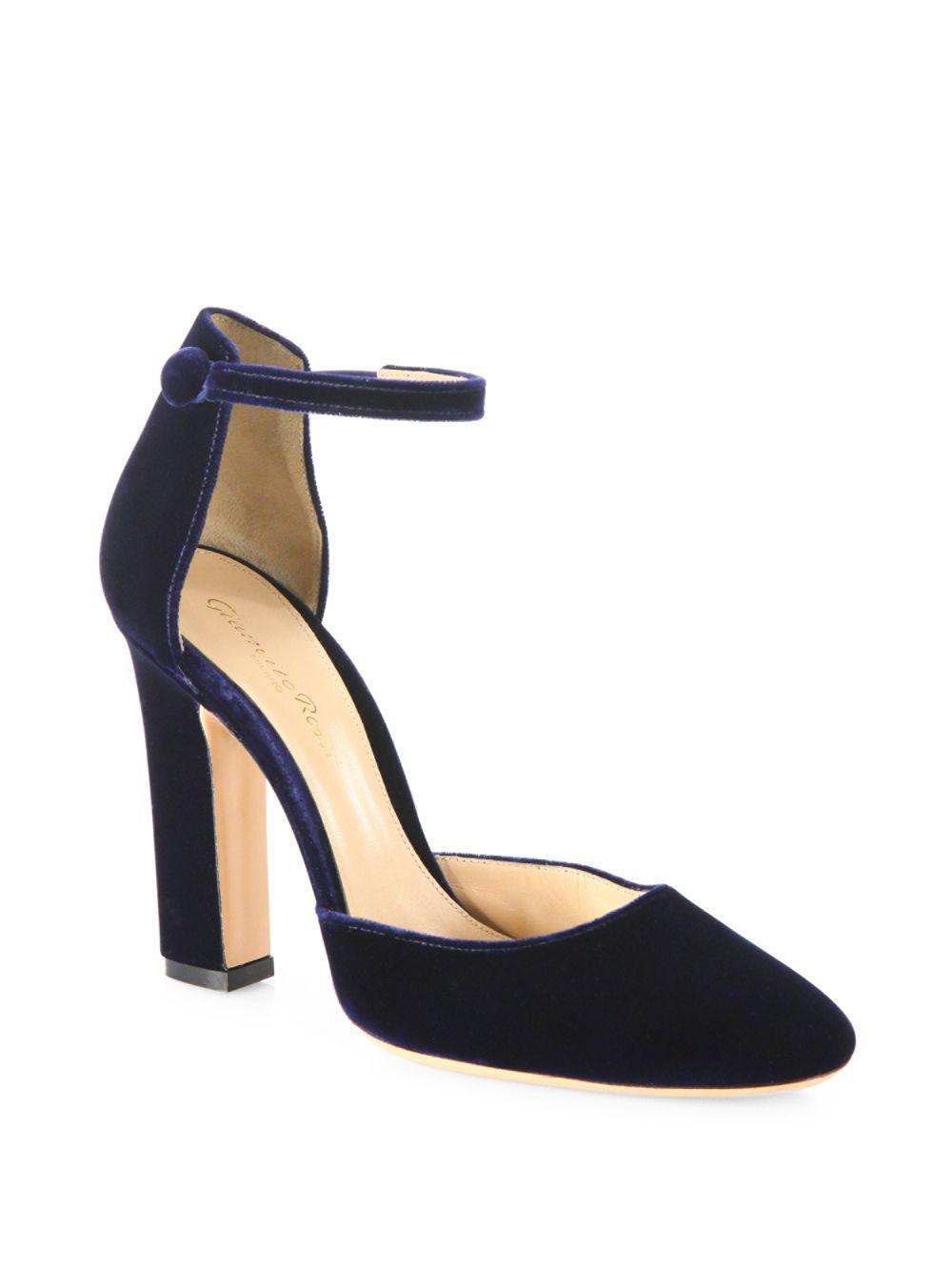 306070a1a79d Gianvito Rossi. Women s Blue Velvet Ankle-strap Block-heel Court Shoes