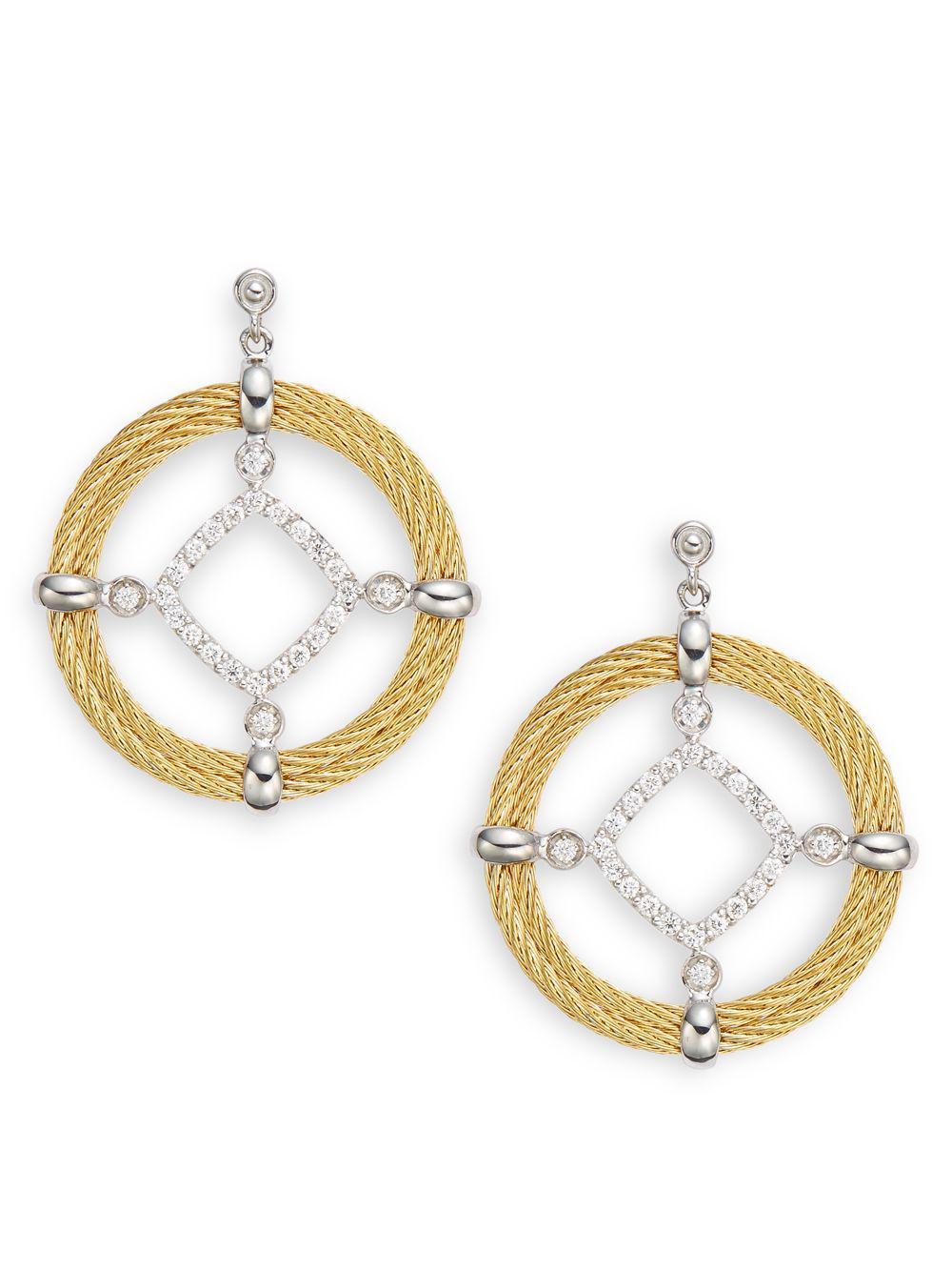 ddc1b05cb0e8d Lyst - Alor Diamond, 18k Yellow Gold, Stainless Steel Cross Drop ...