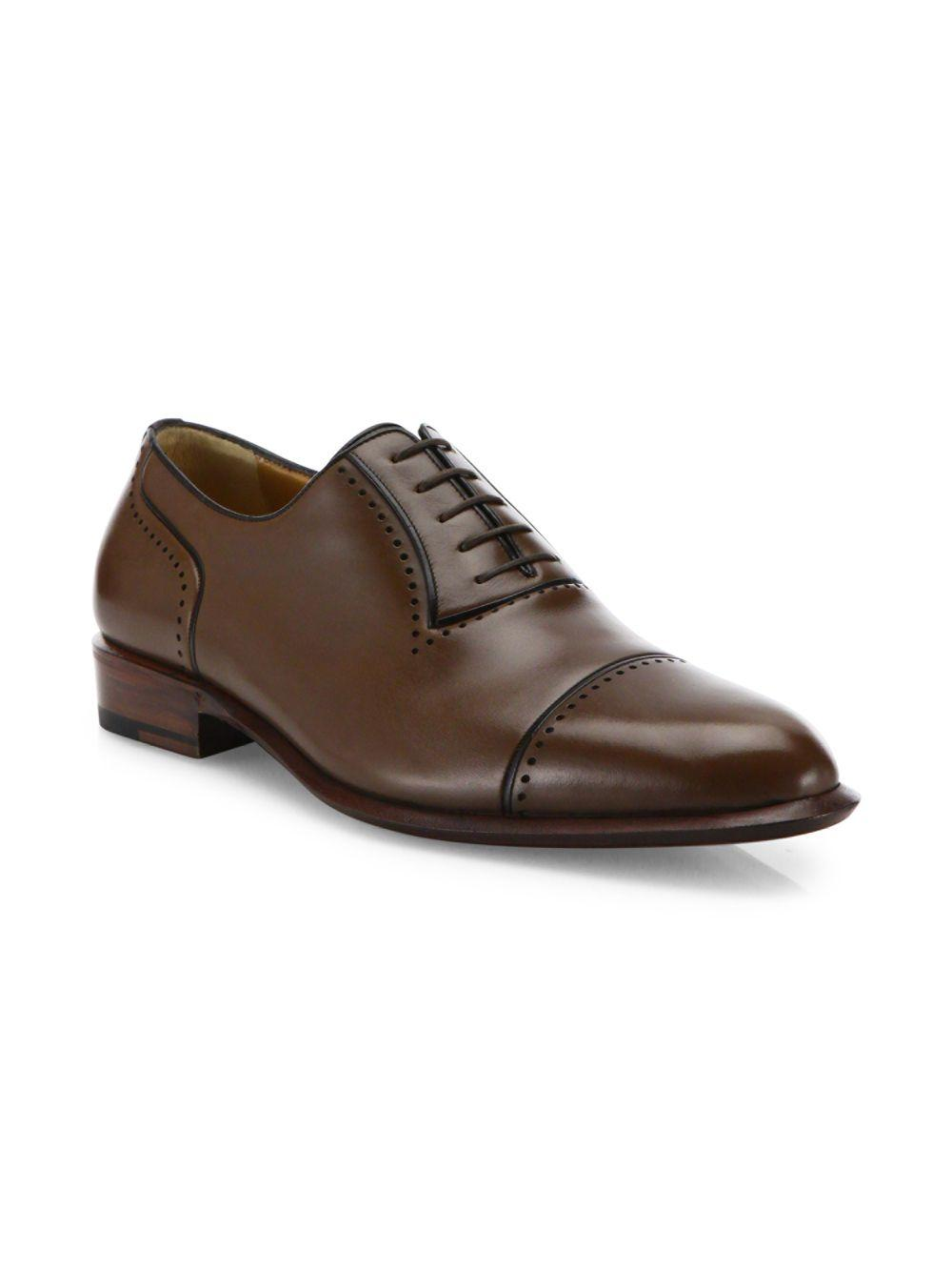 A.Testoni Perforated Leather Derby Shoes in Coffee (Brown) for Men