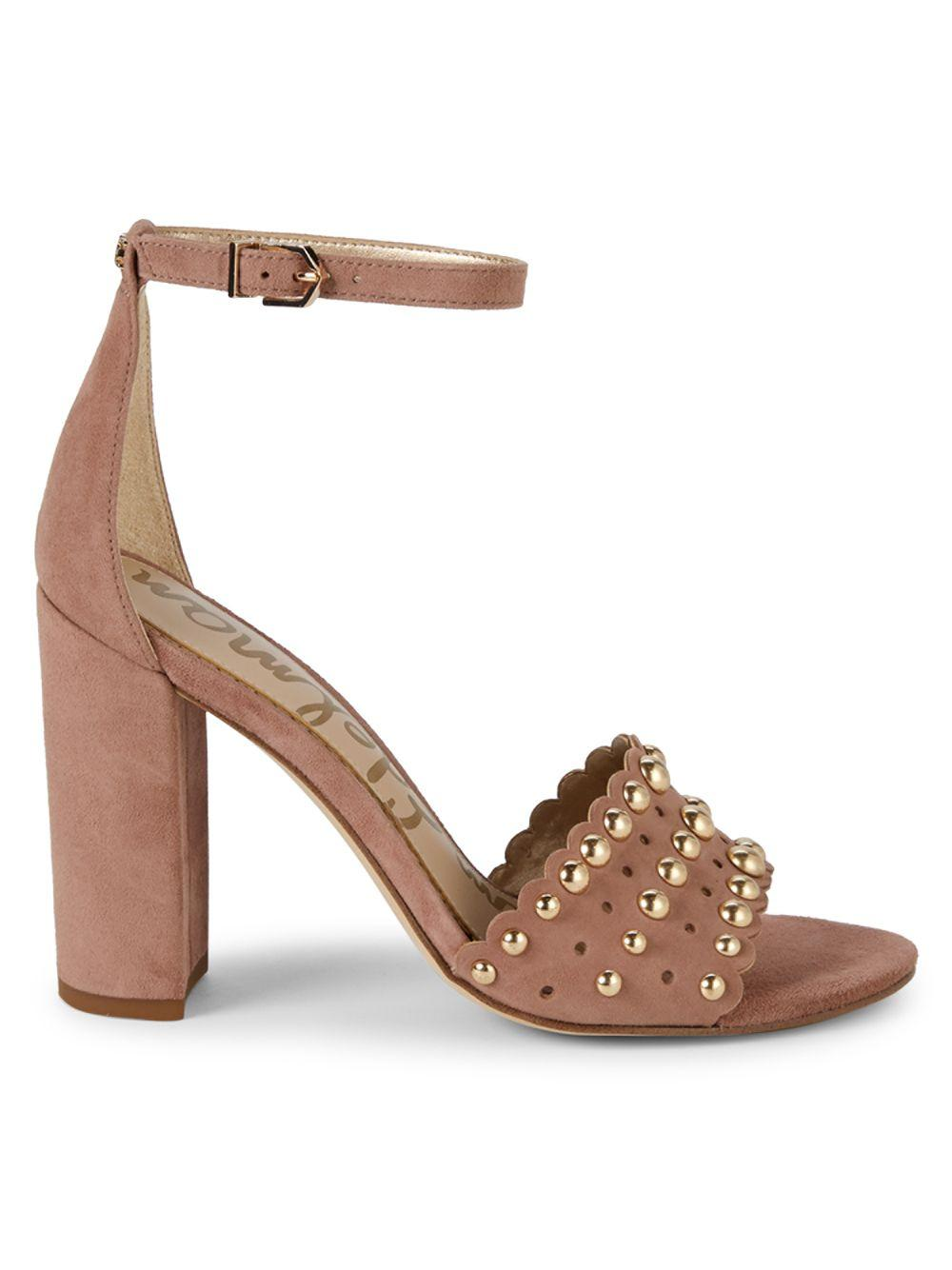 62434fc828dc Lyst - Sam Edelman Yaria Studded Suede Block-heel Sandals in Brown