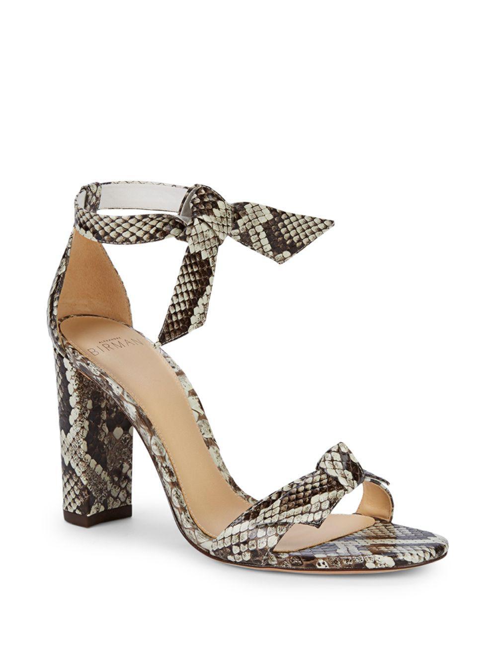 d8999e7aecdf Alexandre Birman Clarita Snakeskin Tie Sandals in Natural - Lyst