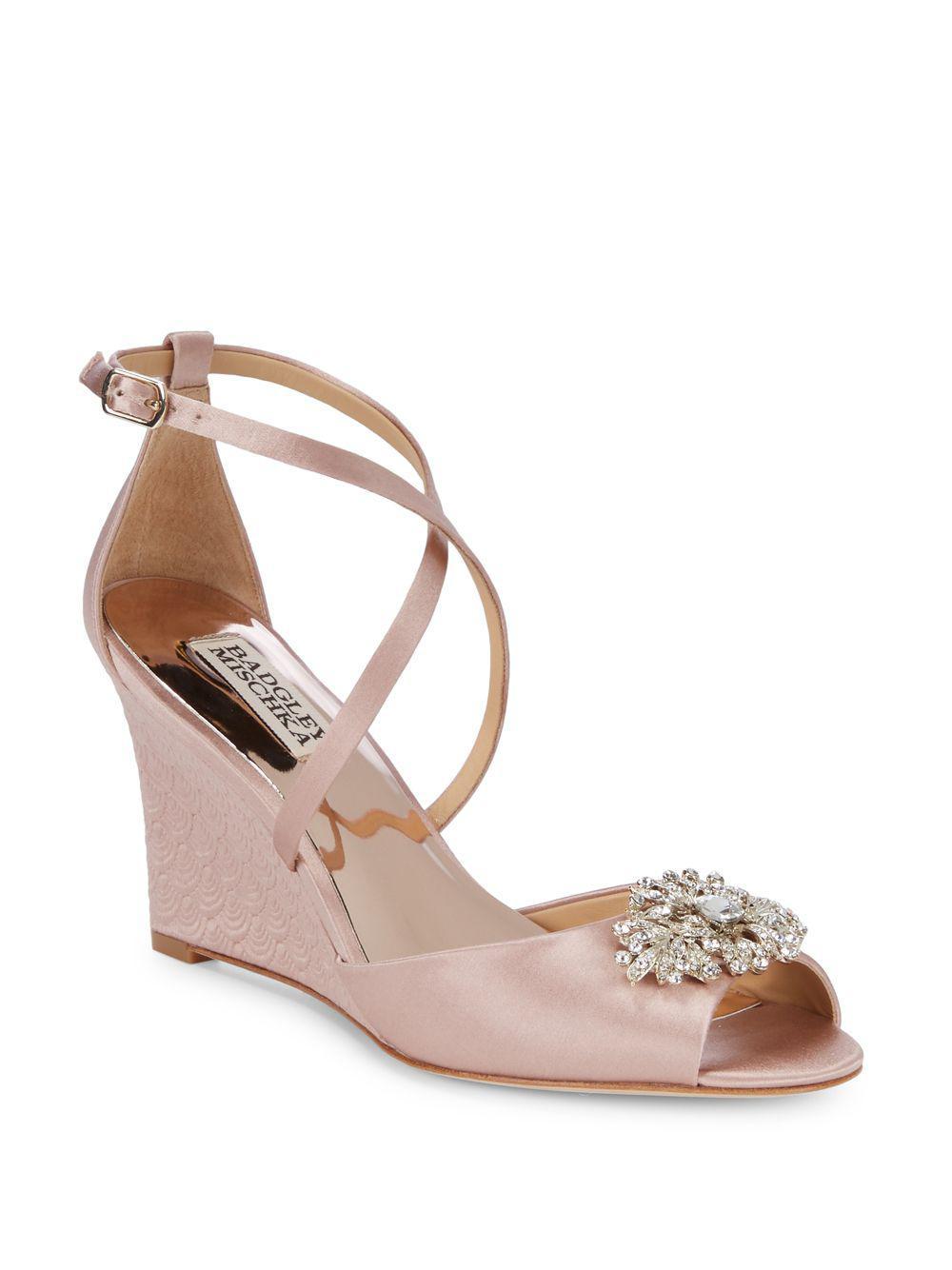 38598354ebaf Badgley Mischka Abigail Embellished Satin Ankle Strap Sandals - Save ...