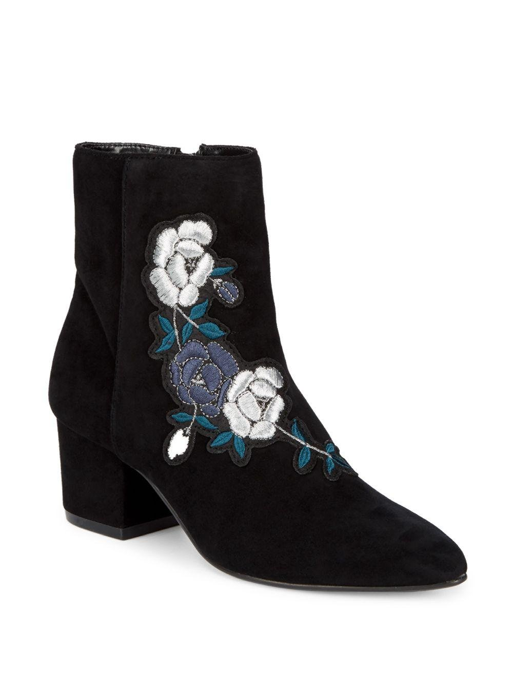5714f1ad3df Steven by Steve Madden. Women s Black Brooker Suede Embroidered Ankle Boots