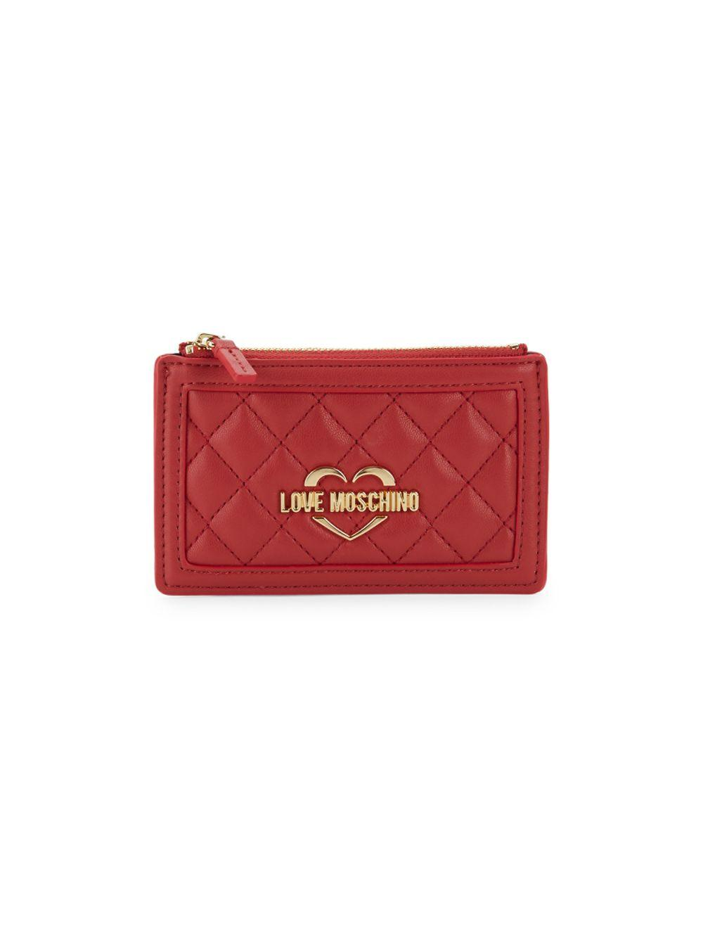 the best attitude f3db4 e216b Lyst - Love Moschino Logo Quilted Card Case in Red