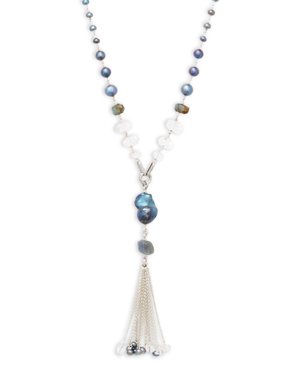 Stephen Dweck Labradorite & Quartz Tassel Chain Necklace bvGuaUP9lU