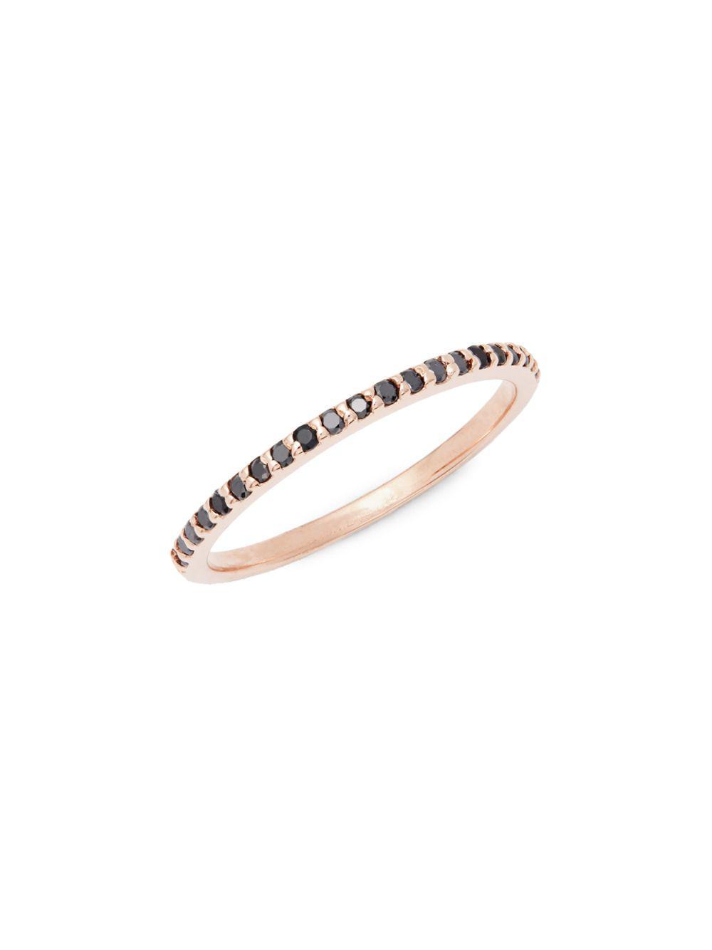 b6da0644c5a7d Lyst - Danni 14k Rose Gold Black Diamond Stackable Band in Metallic