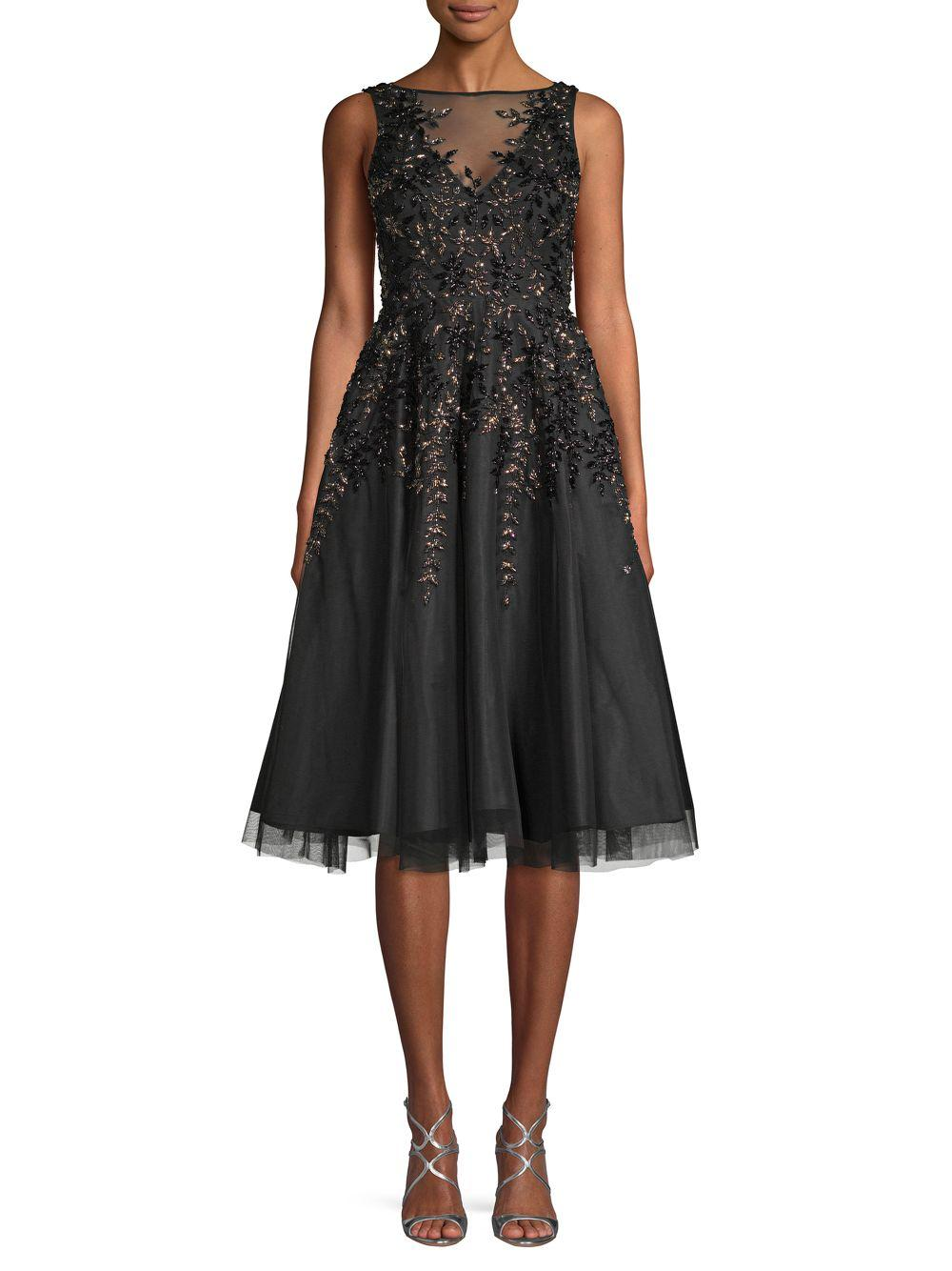 Aidan Mattox Synthetic Embellished Illusion Flare Dress In