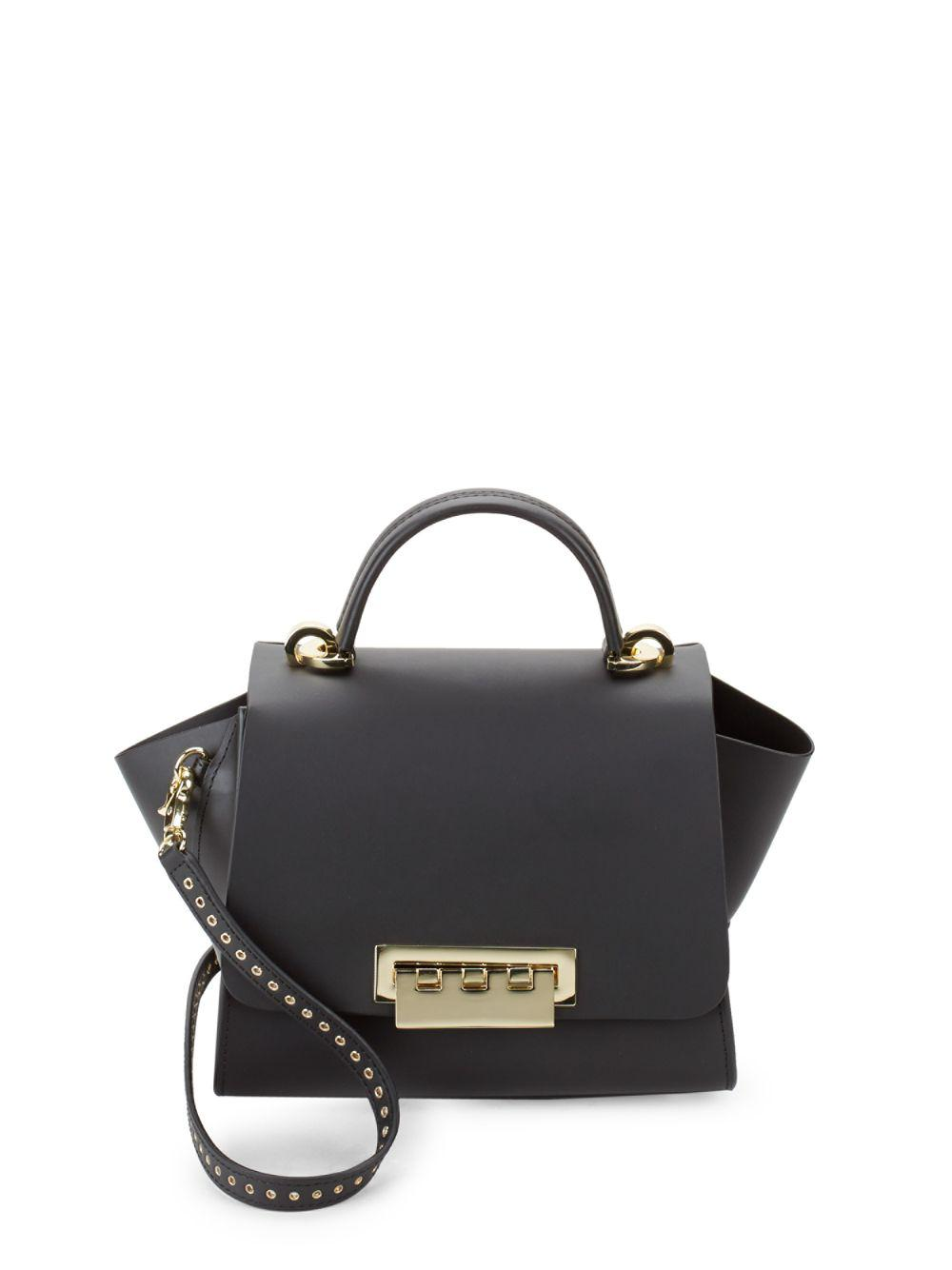 Lyst - Zac Zac Posen Eartha Flap Leather Top Handle Bag in Black f8715d986d7e2