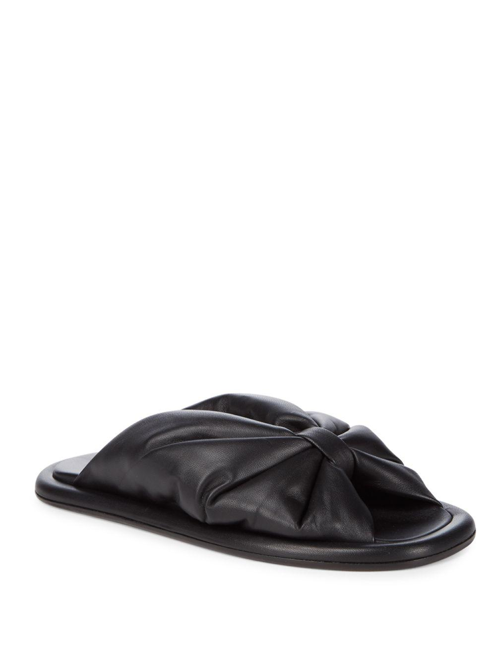 Balenciaga Leather Bow Slippers in