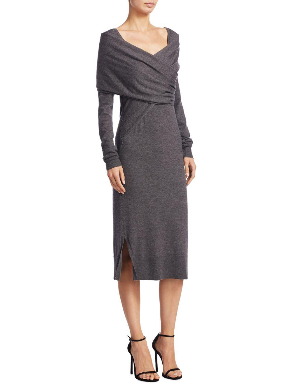 ff65c812575da Lyst - Donna Karan Wrap-front Dress in Gray