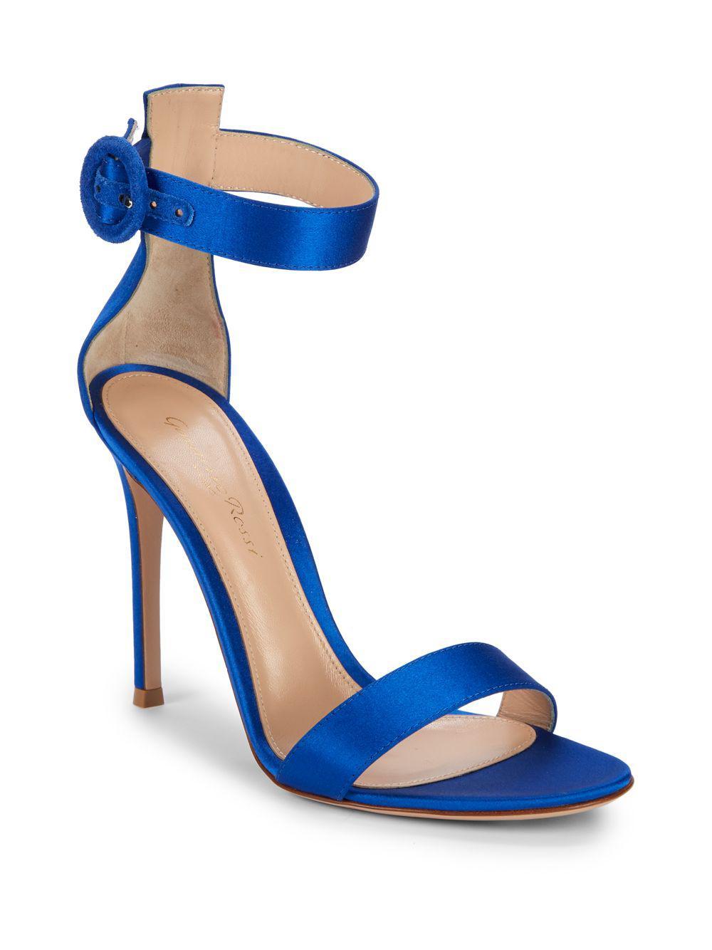 4b22216ca45c Lyst - Gianvito Rossi Portofino Satin Ankle-strap Sandals in Blue