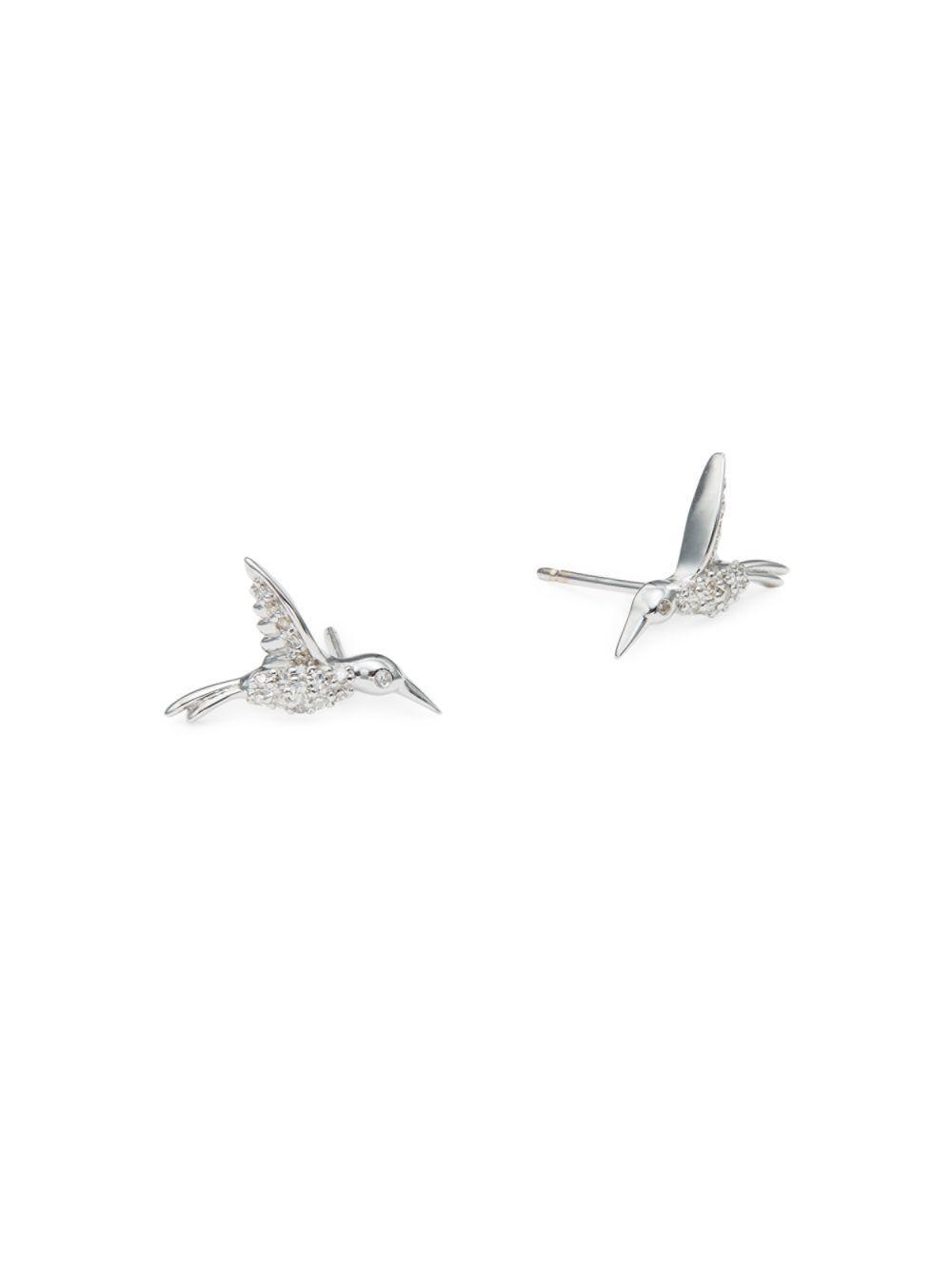 Lyst - Danni Diamond And 14k White Gold Bird Stud Earrings in Metallic