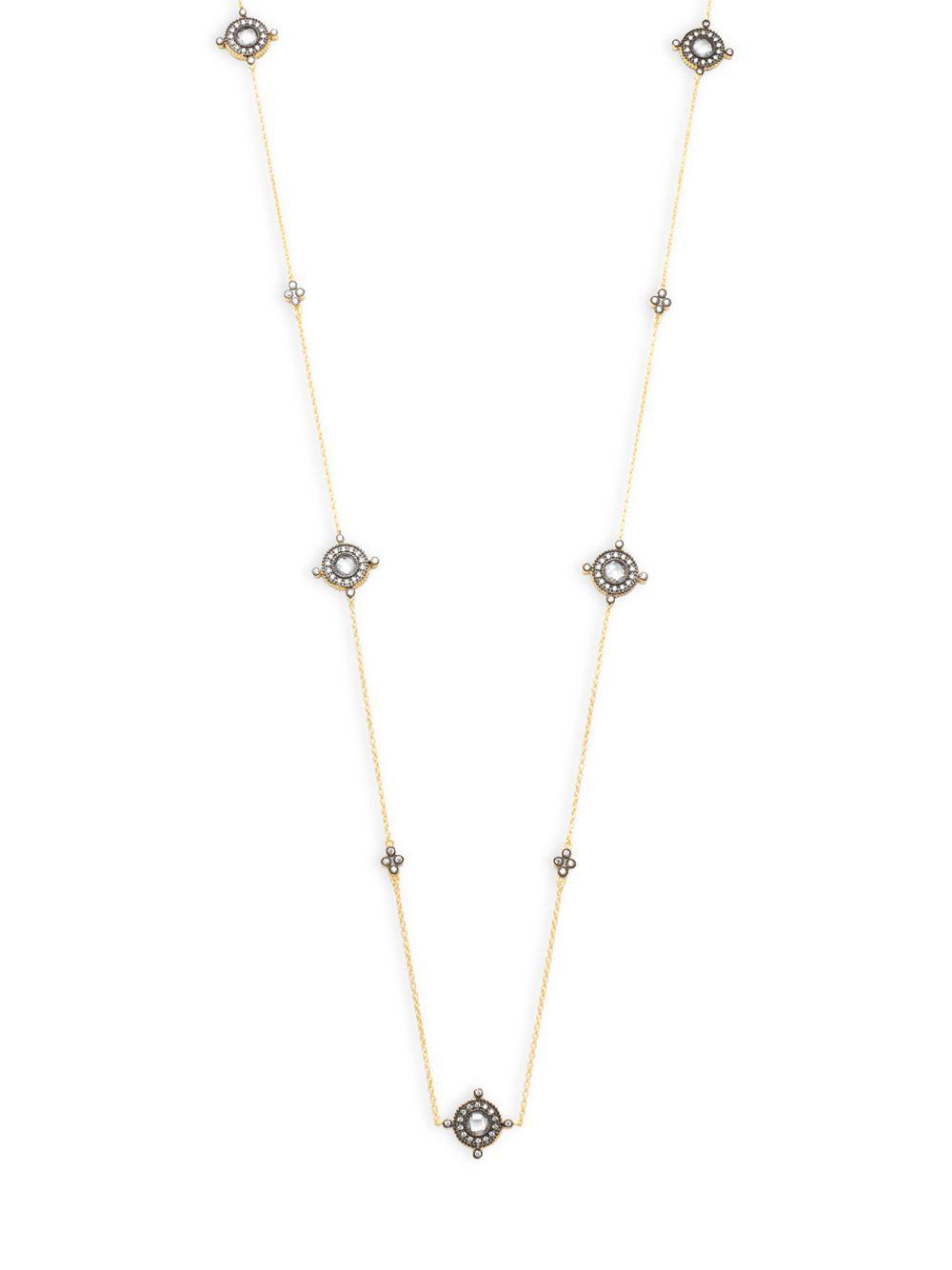 Freida Rothman Two Tone Mini Teardrop Station Wrap Necklace i6jNpWPn33