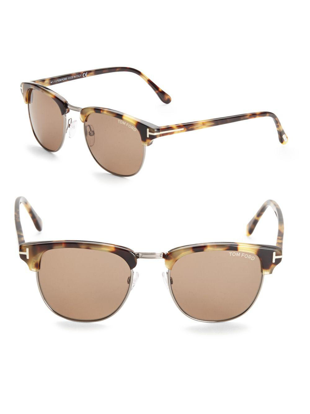 51c7fefc226 Lyst - Tom Ford 51mm Clubmaster Sunglasses in Brown