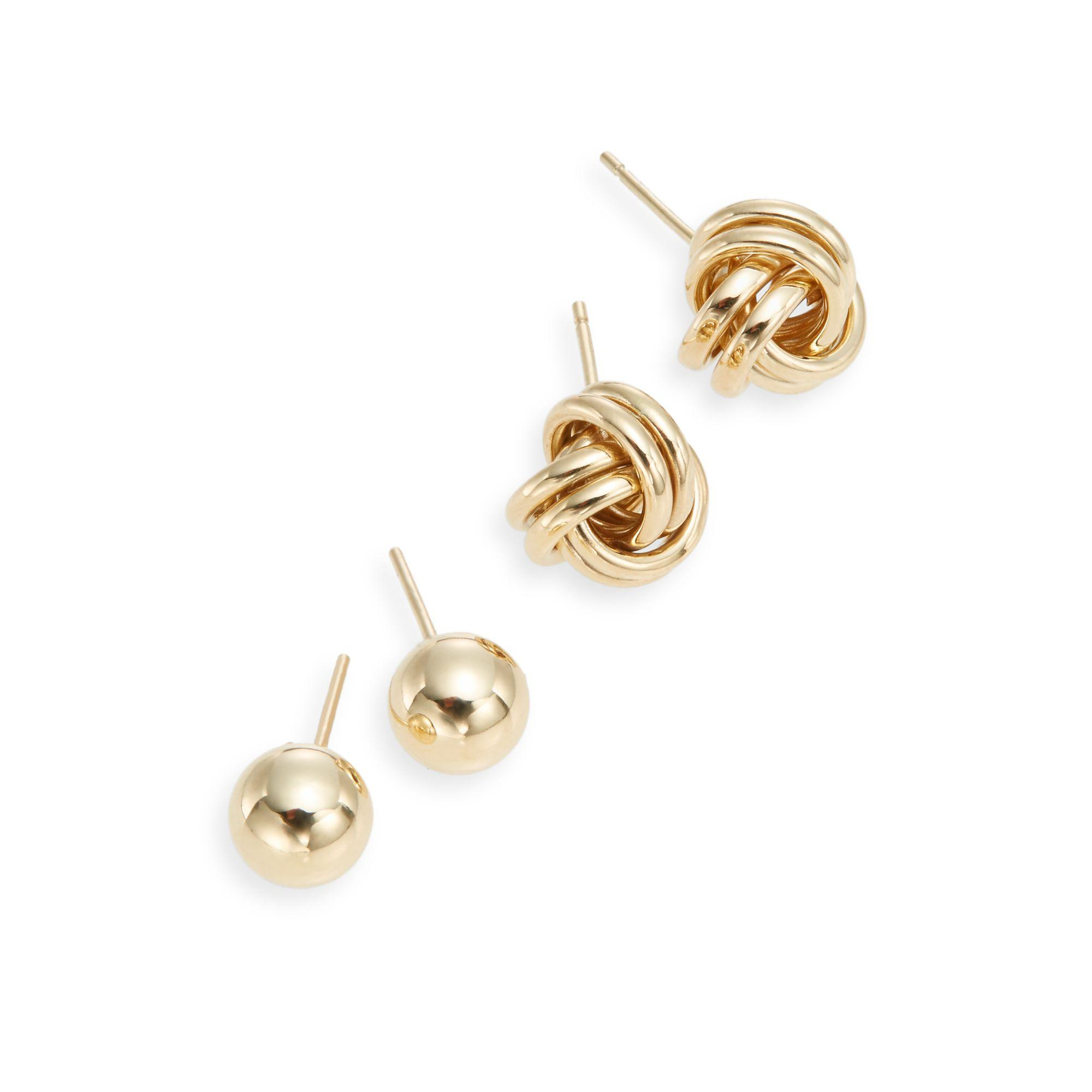 Saks Fifth Avenue 14k Yellow Gold Ball & Knot Stud Earring Set in Metallic