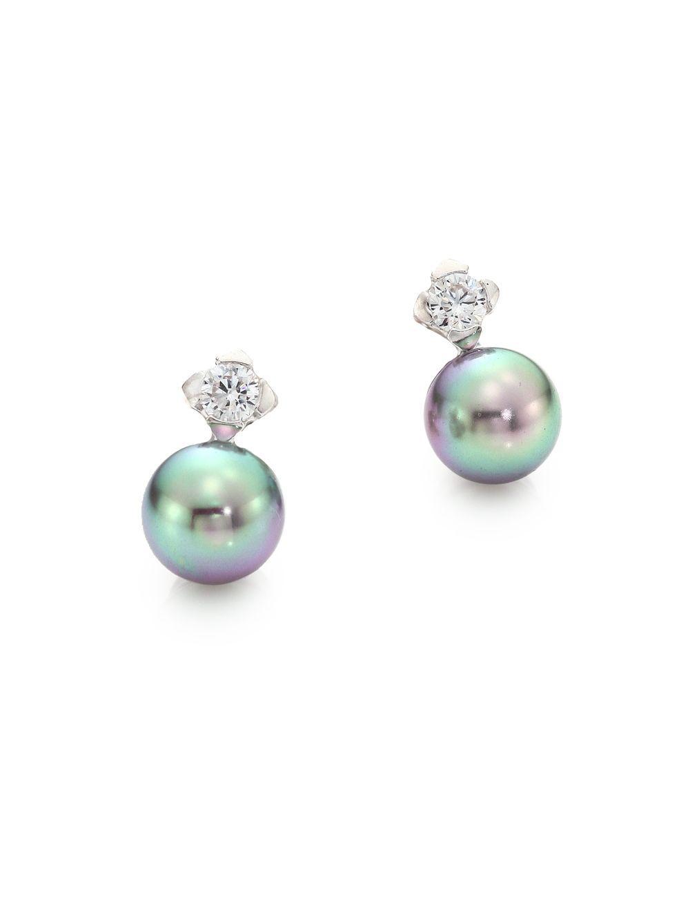 Majorica 7mm Simulated Pearl & Crystal Stud Earrings 86Itr9dmO